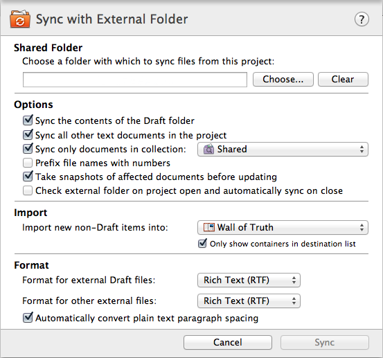 External Folder Sync settings