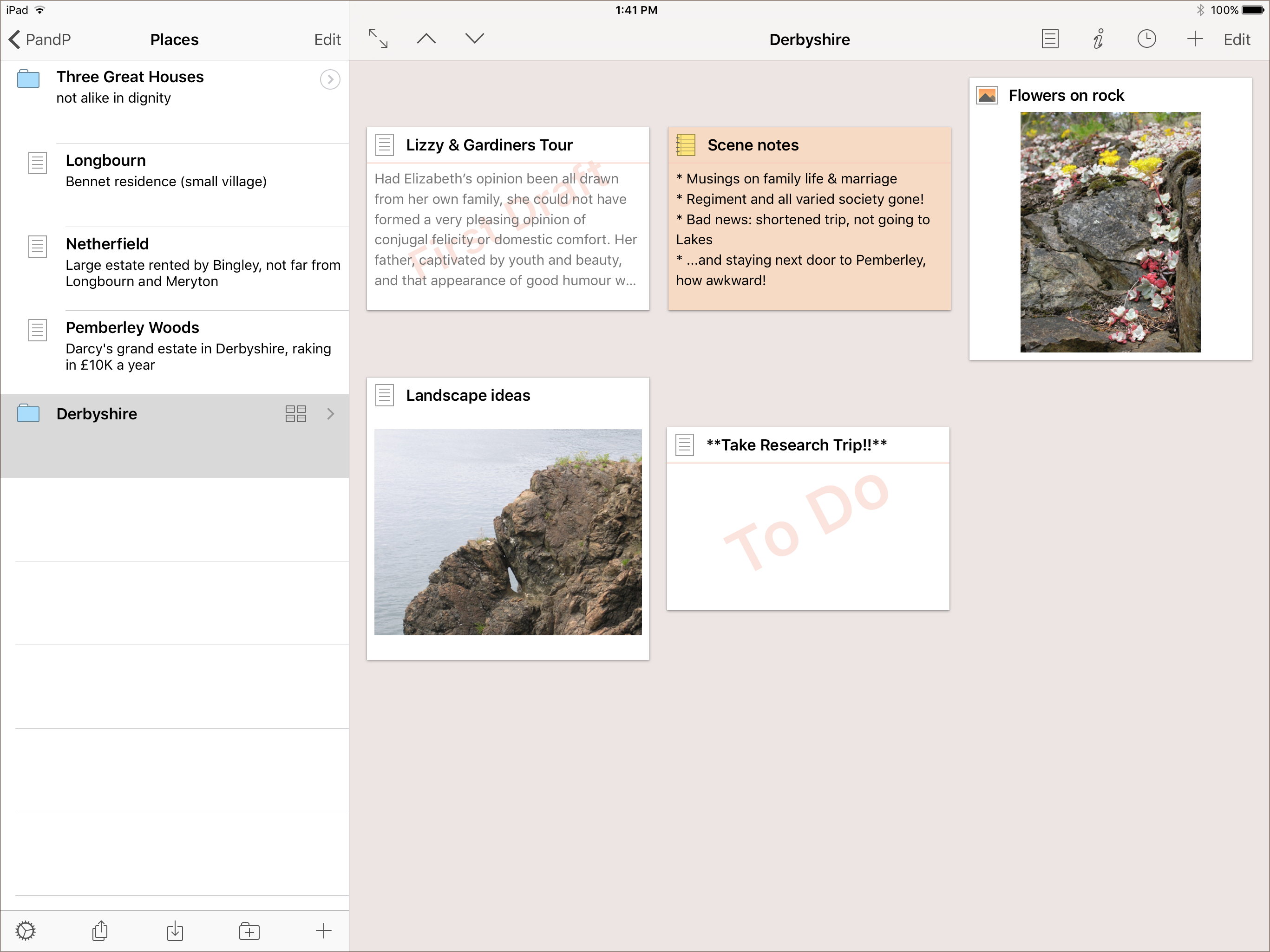 Screenshot of Scrivener's corkboard