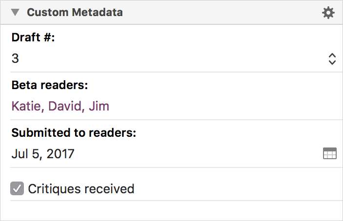 Metadata in the inspector