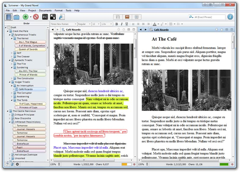 Scrivener for Mac OS X full screenshot