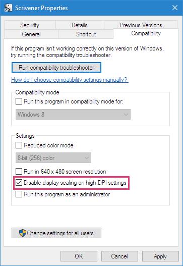 Override high DPI scaling behavior on the Windows 10 Creators Update