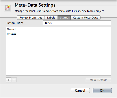 Status meta-data settings