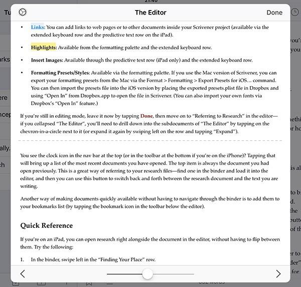 Scrivener For Ipad The Draft Navigator Literature And Latte