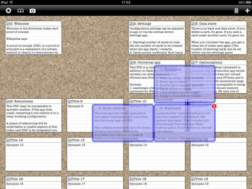 Scrivener for iPad's corkboard