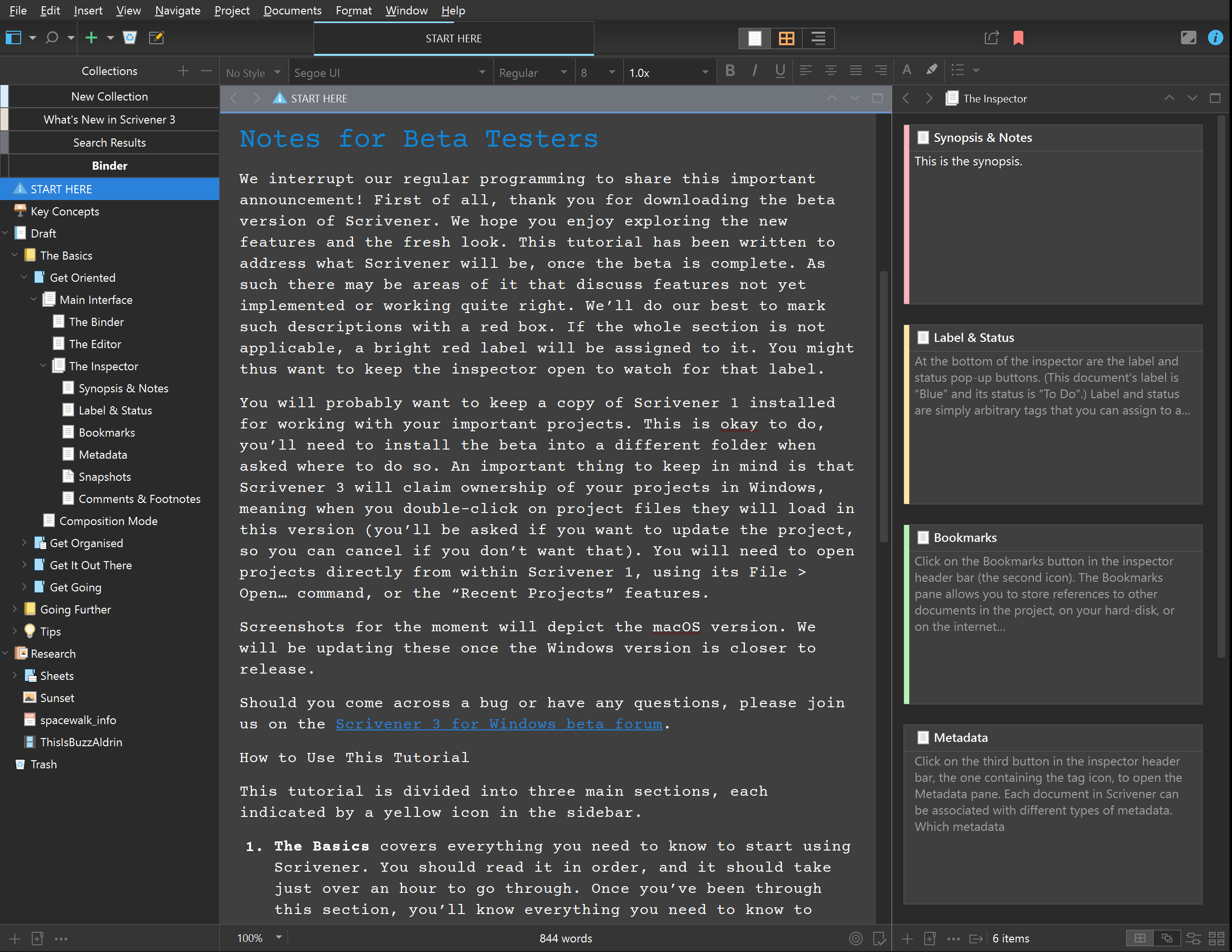 Scrivener 3 for Windows - Dark Mode