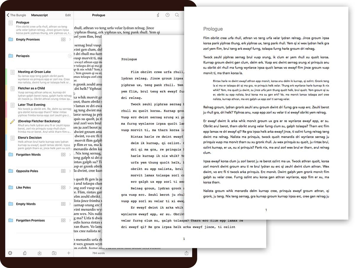 formatting guidelines scrivener spacing fonts