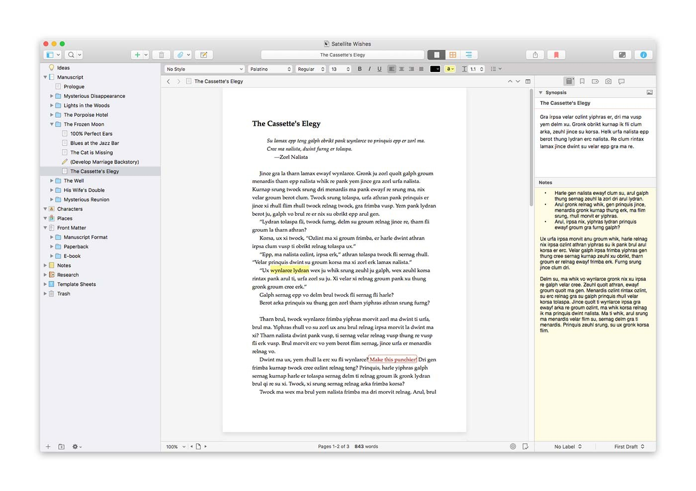 Scrivener's page view.