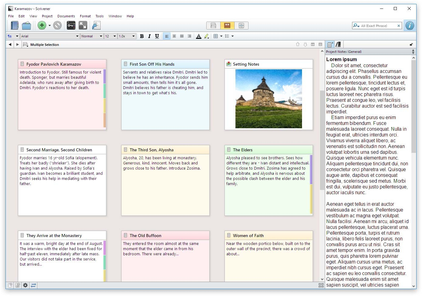 Scrivener Features - Corkboard
