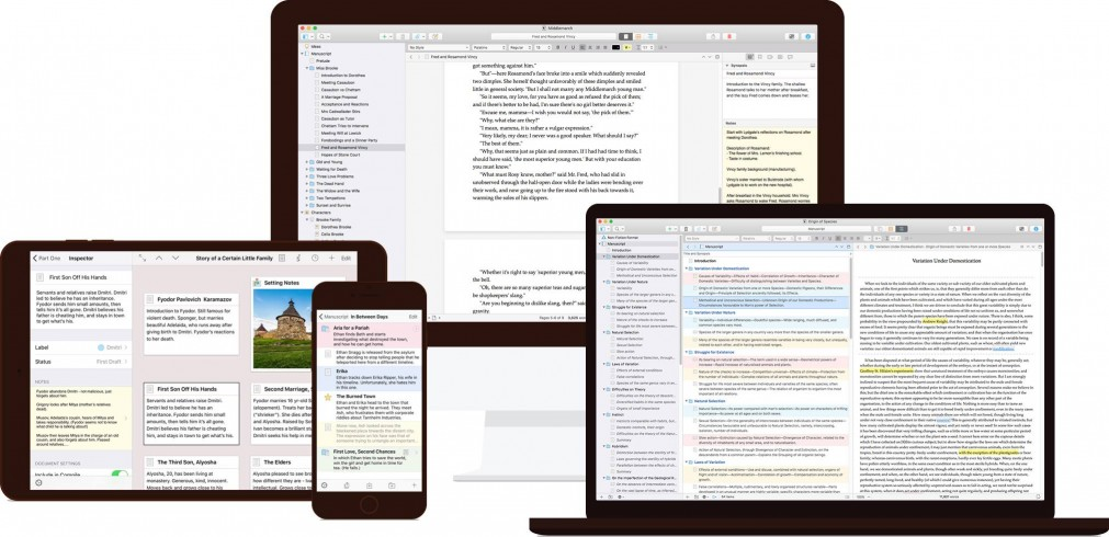 Scrivener on different devices
