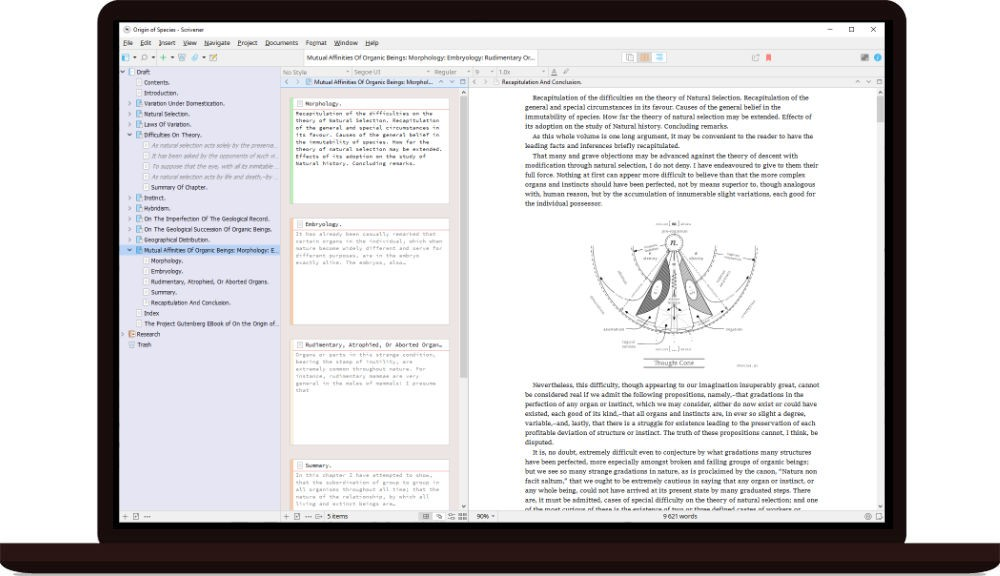 Scrivener 3 for Windows running on a laptop